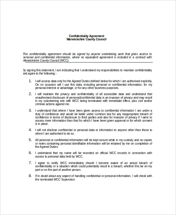 Personal Data Confidentiality Agreement Template