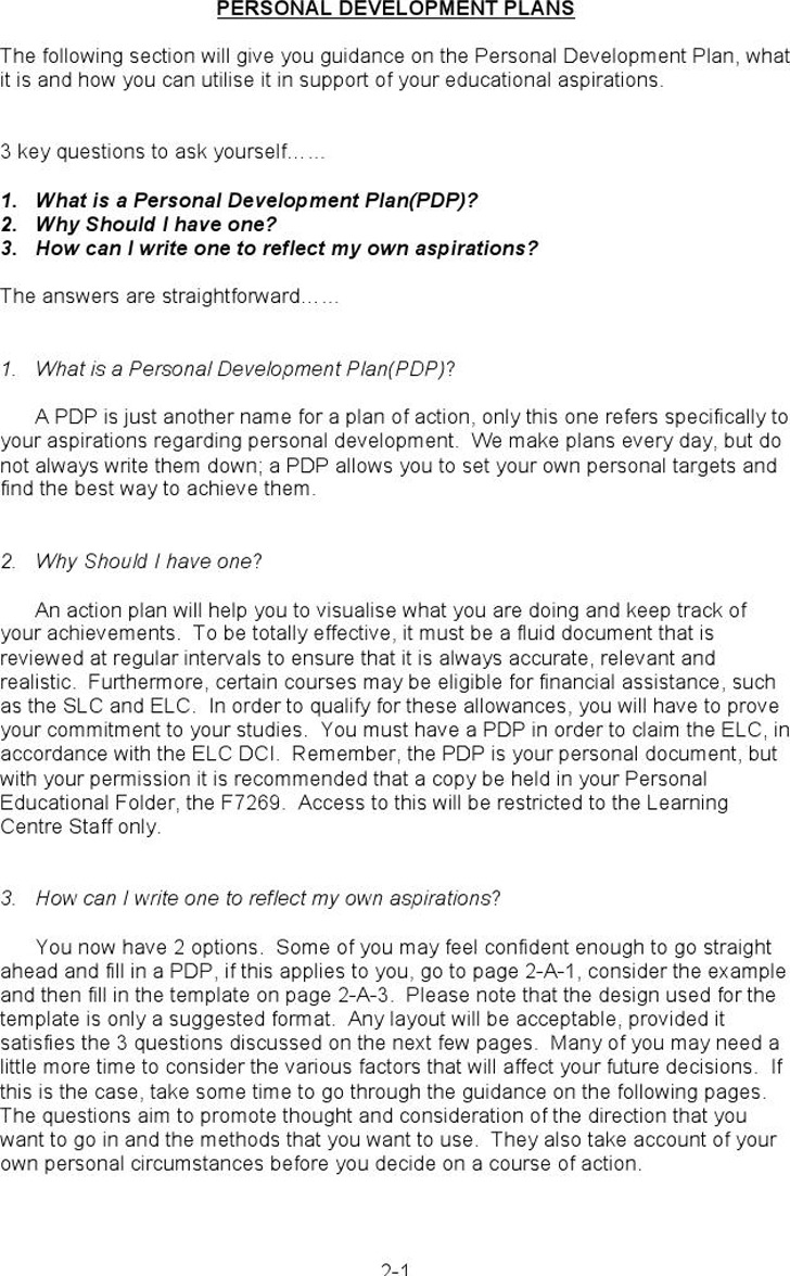 Personal Development Plan Sample 4
