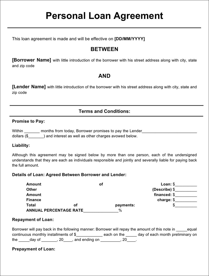 Personal Loan Agreement Form  Download Free  Premium Templates