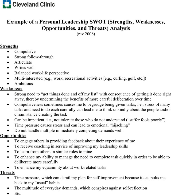 SWOT Analysis Example – Example of a Swot Analysis Paper