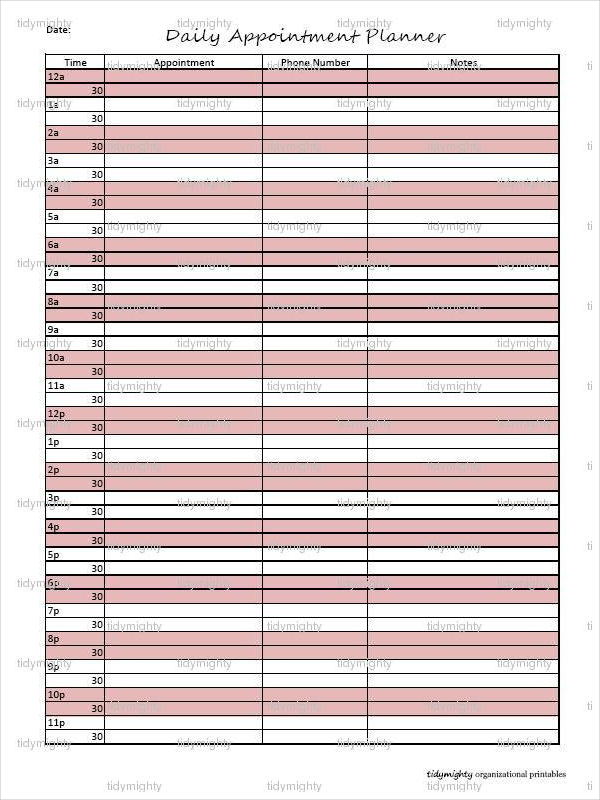 Sample Personal Daily Planner Templates | Download Free & Premium