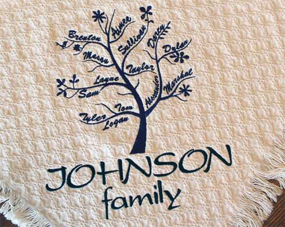 Personalized Family Tree Blanket for Mother's Day - $53