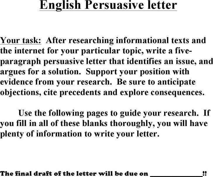 Persuasive Letter Prewriting