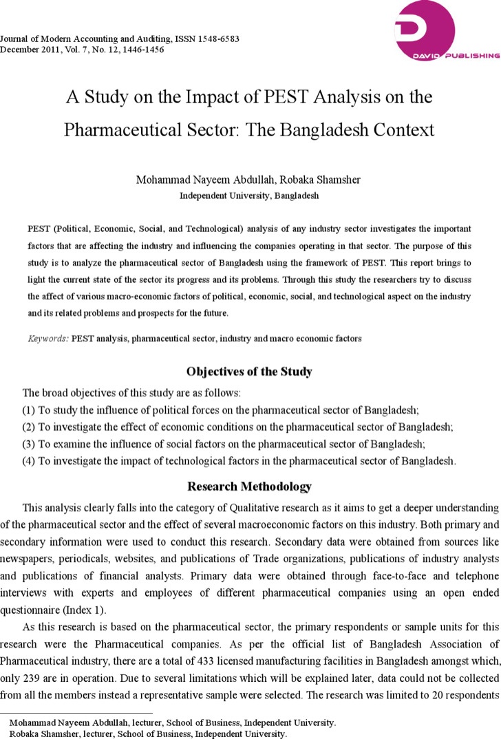 Pest Analysis Template For Pharmaceutical Industry