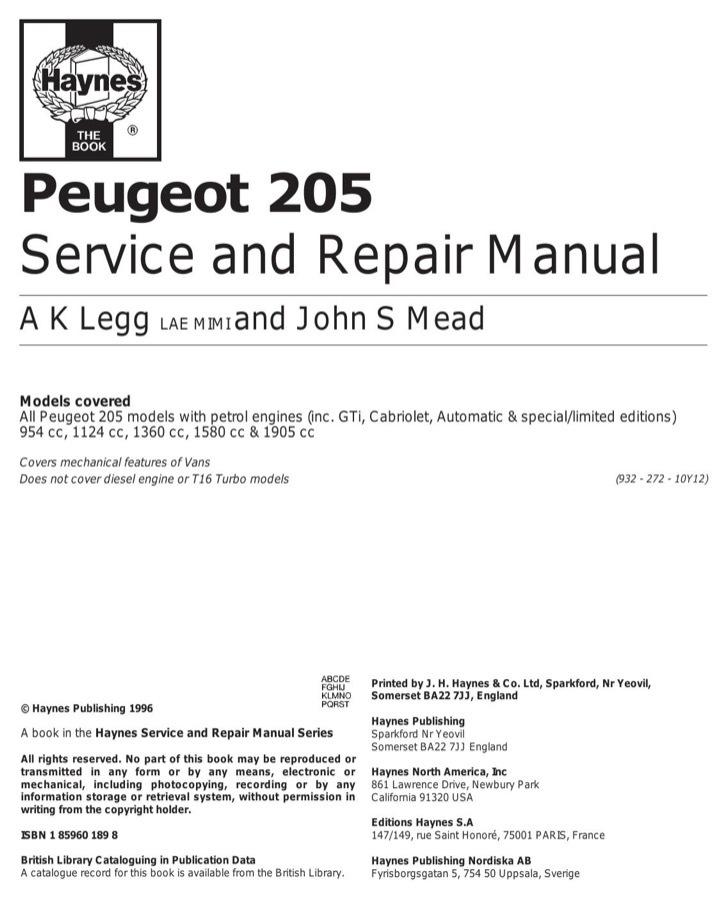 Peugeot User's Manual Sample