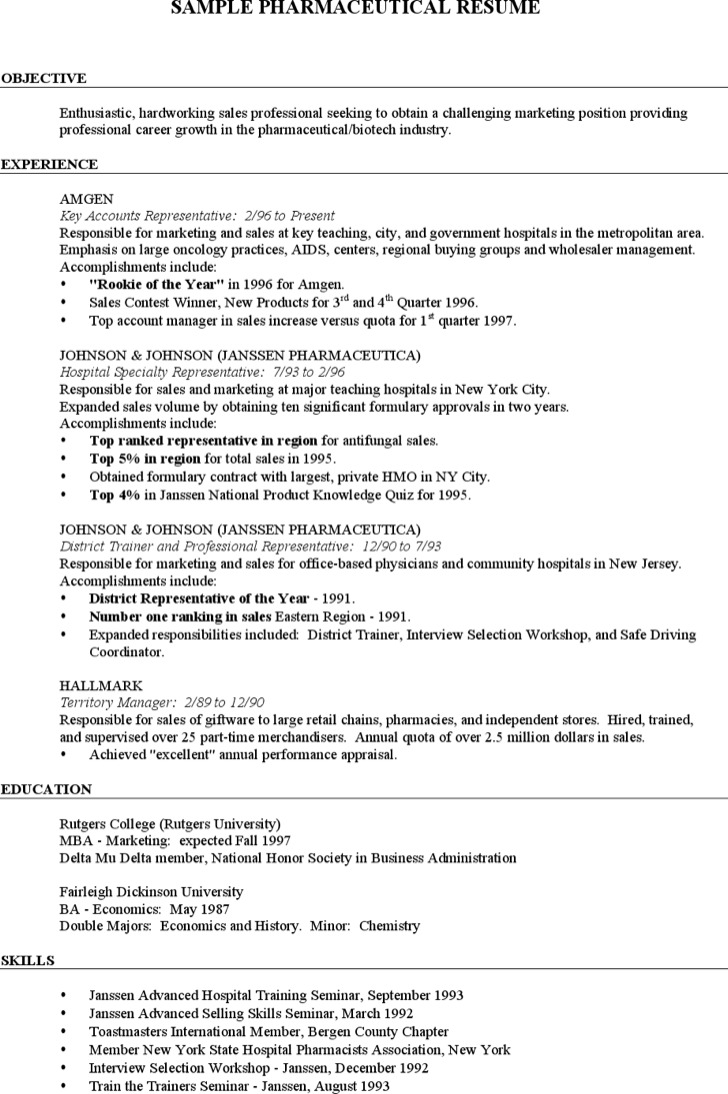 Pharmaceutical Merchandiser Resume
