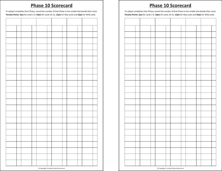 Phase  Score Sheet  Download Free  Premium Templates Forms