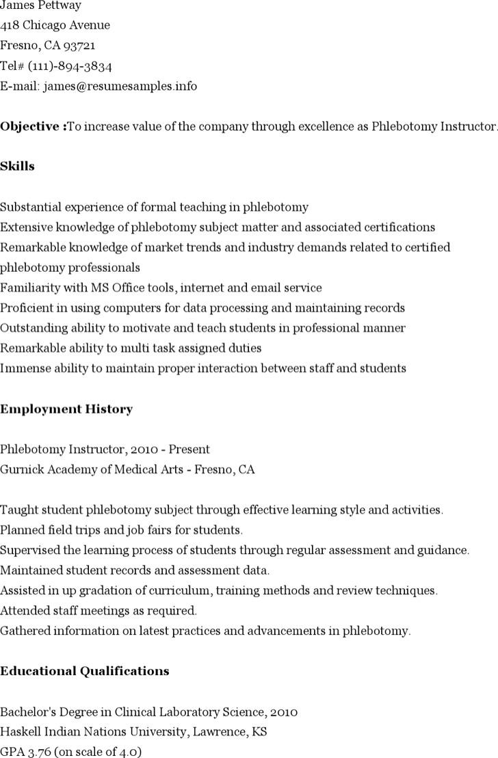 Phlebotomy Instructor Resume