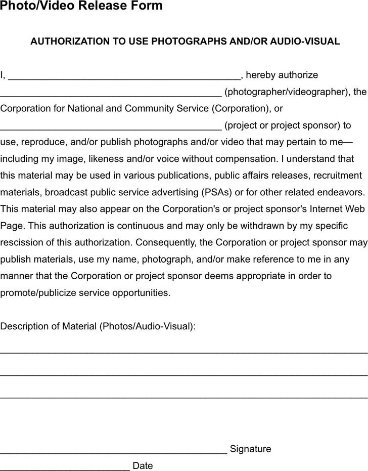 Photo And Video Release Form