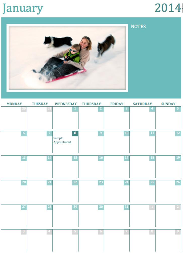 Photo Calendar Template 1