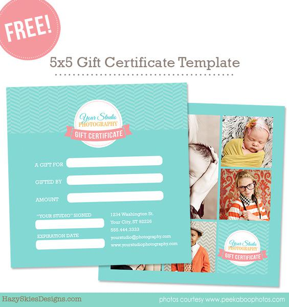 Photo Session Gift Certificate Template Download