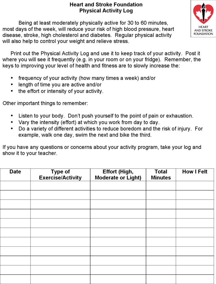 Physical Activity Log