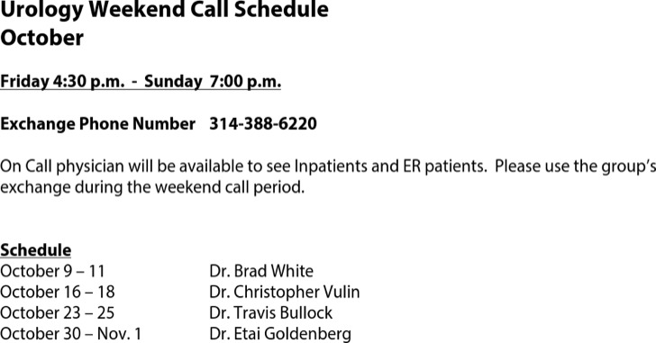 Physician On Call Schedule Template
