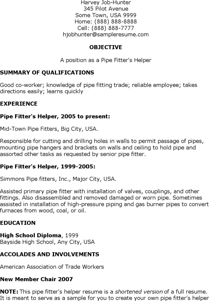 Pipefitter Resume Templates – Pipefitter Resume Samples
