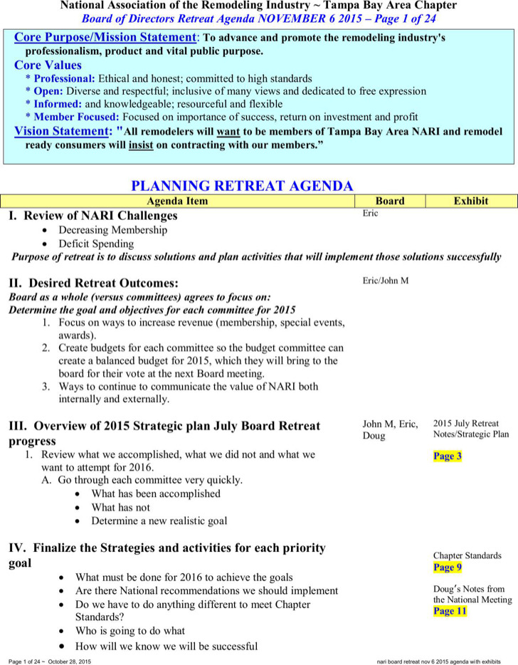 Planning Retreat Agenda Template