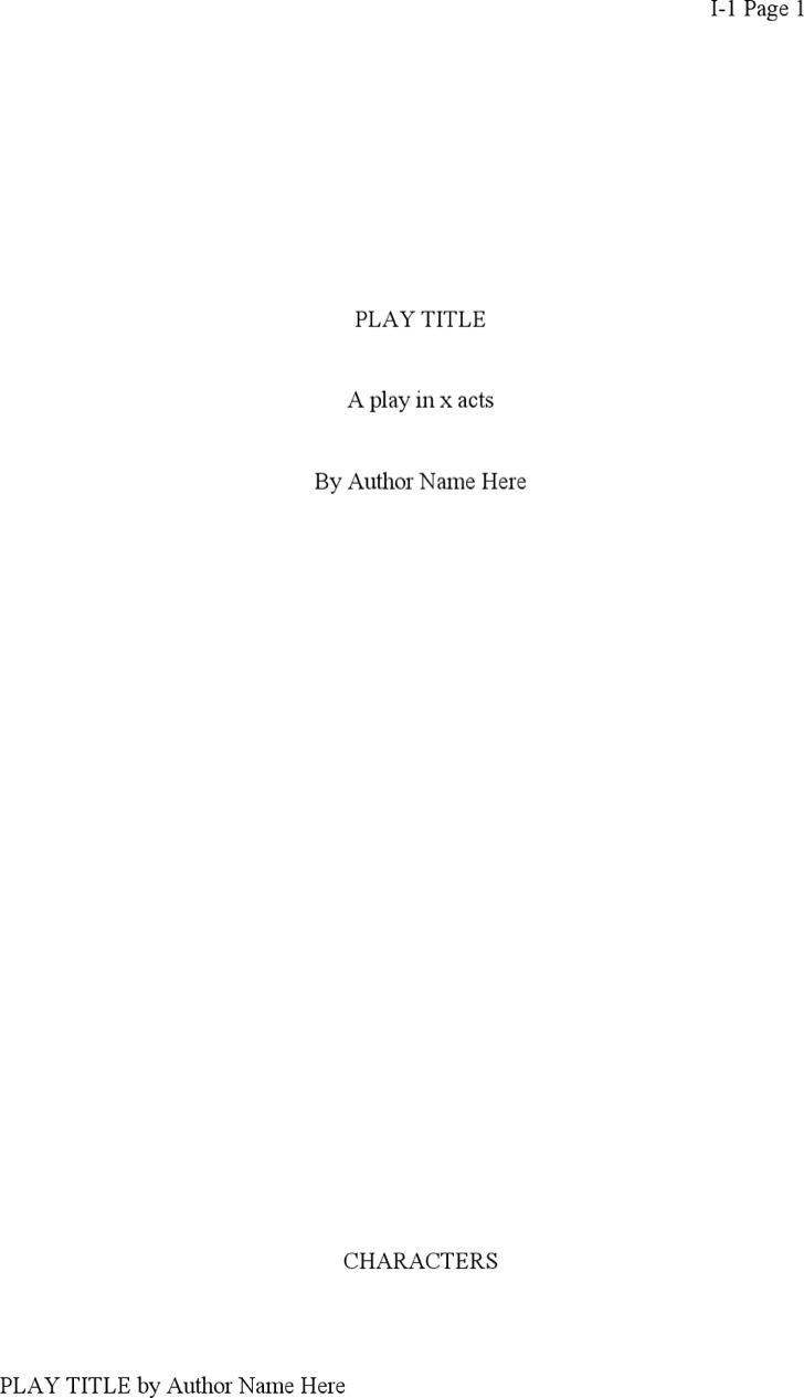 Play Script Writing Template