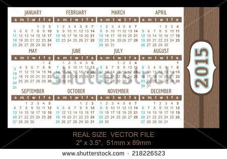 Pocket Calendar 2015 Template