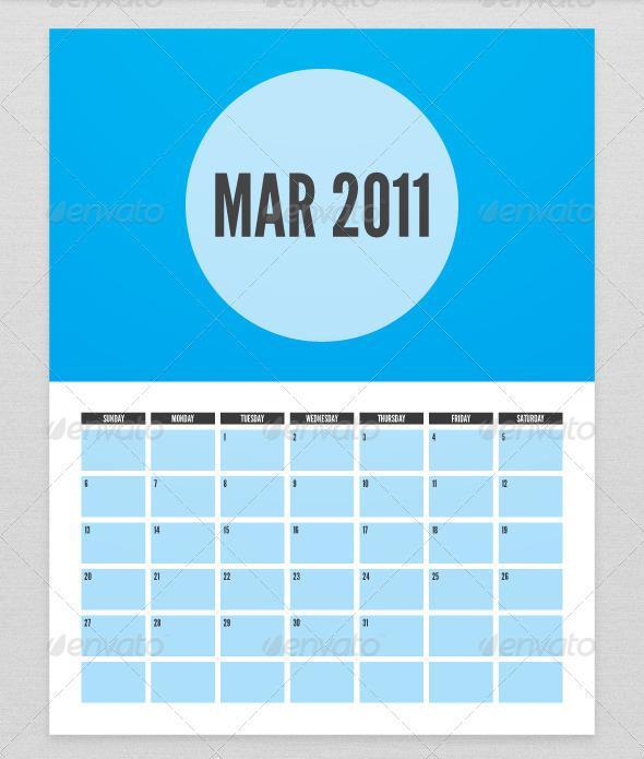 Pocket Calendar Template in Minimalistic