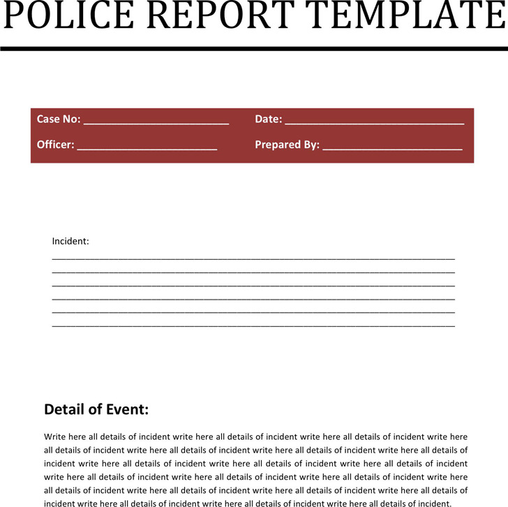 Police Report Template | Download Free & Premium Templates, Forms
