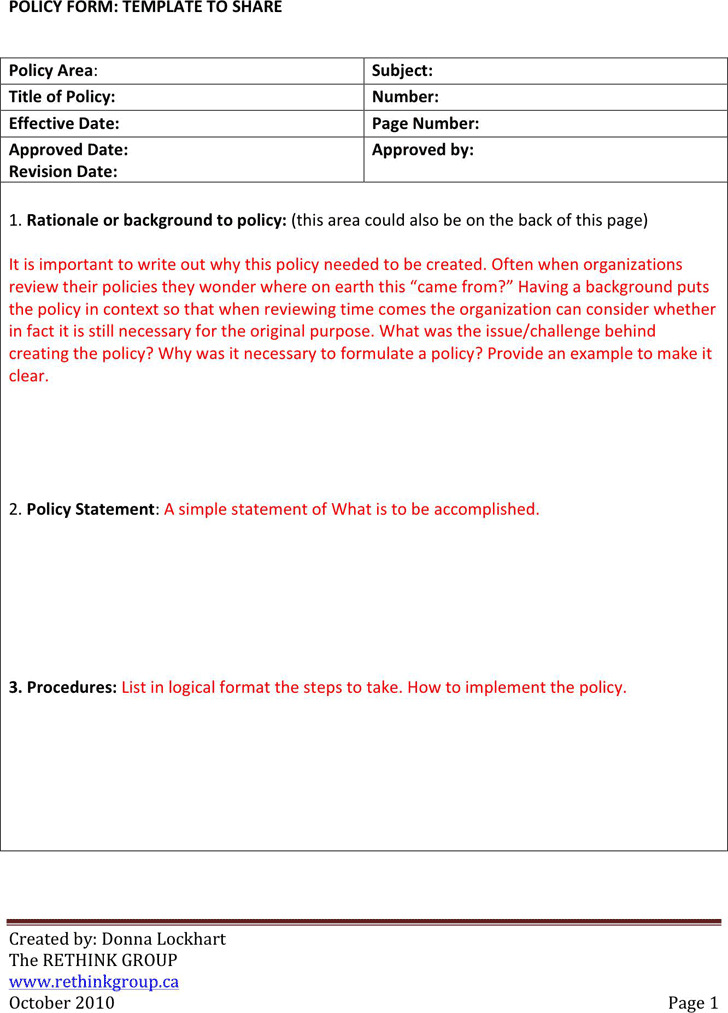 Policies And Procedures Template  Download Free  Premium