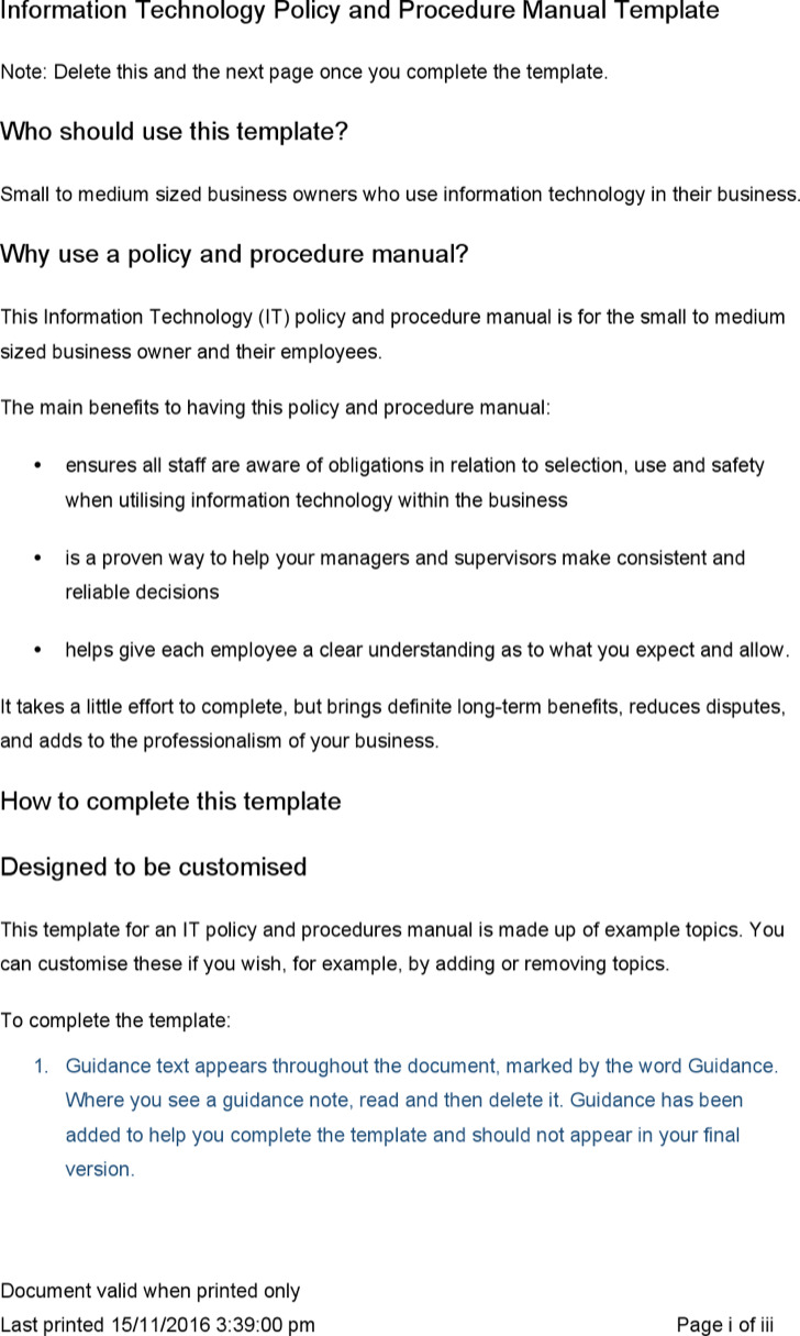 Policy Manual Template Word