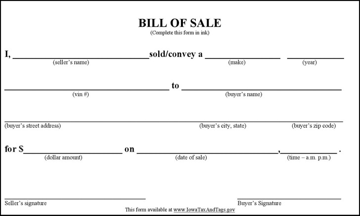 Polk County Iowa Vehicle Bill of Sale