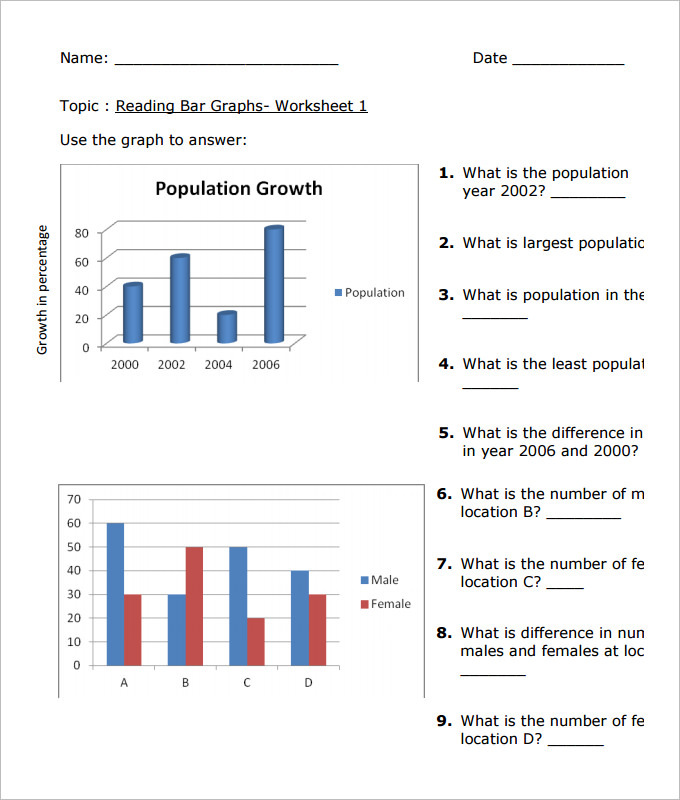Population Bar Graph Worksheet Template