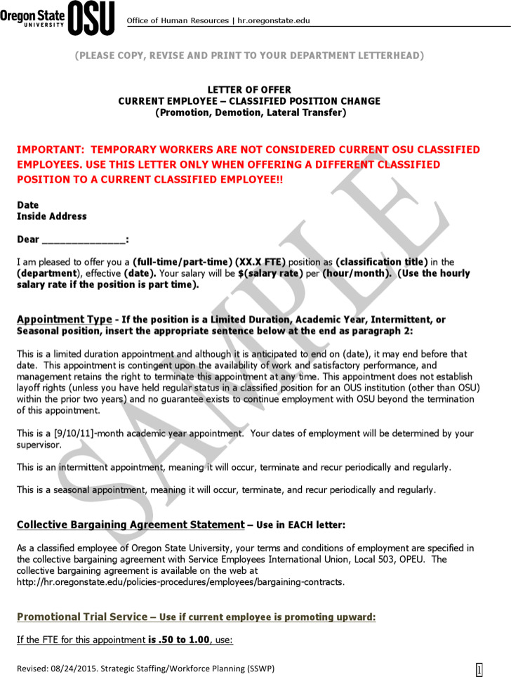 Position Transfer Letter Template