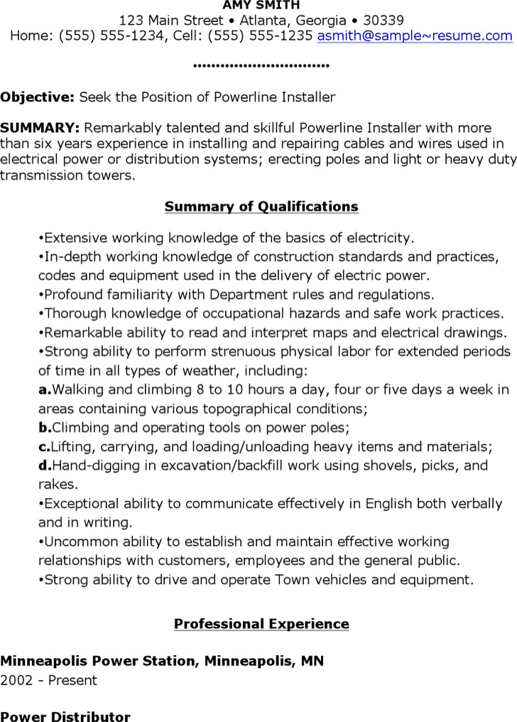 Powerline Installer Resume