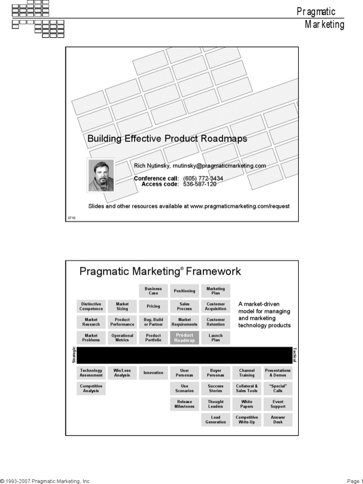 Pragmatic Marketing Roadmap Template