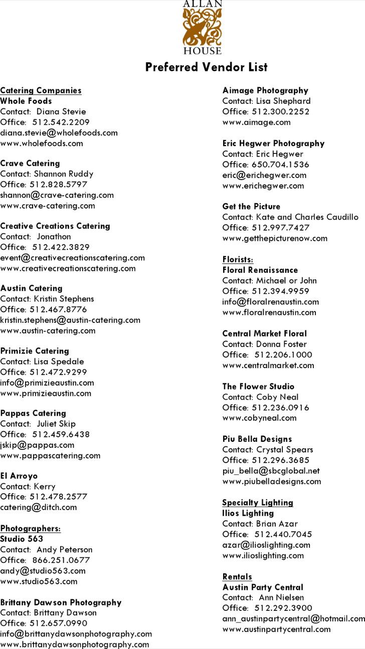Preferred Vendor List Template