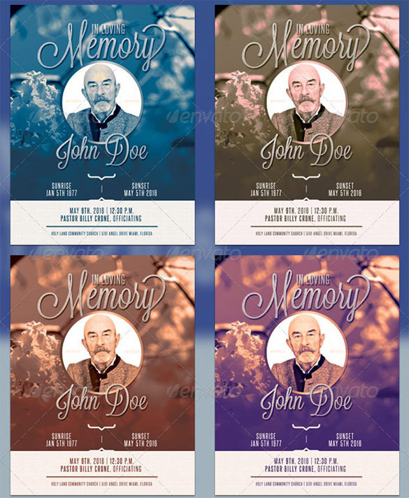 Premium Blue Funeral Program Template - $6