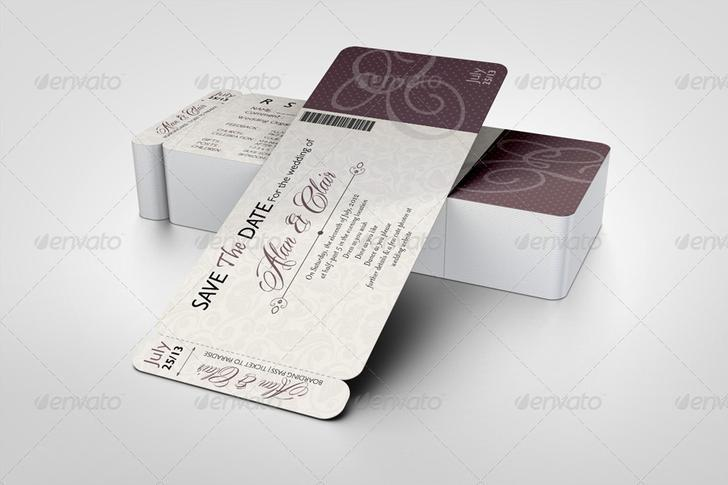 Premium Boarding Pass Invitations Mock-up - $8