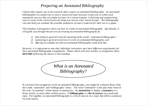 Mla Annotated Bibliography Template  Download Free  Premium