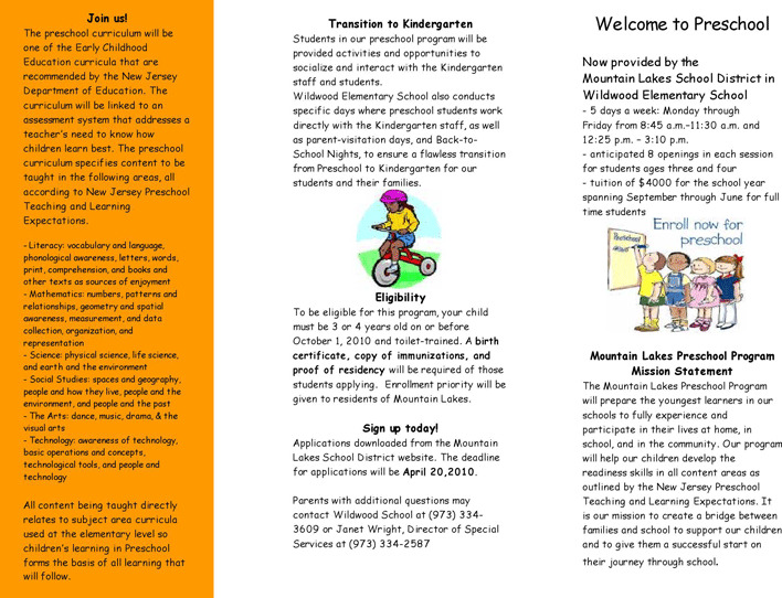 Kindergarten Brochure Template Novasatfmtk - Teacher brochure template