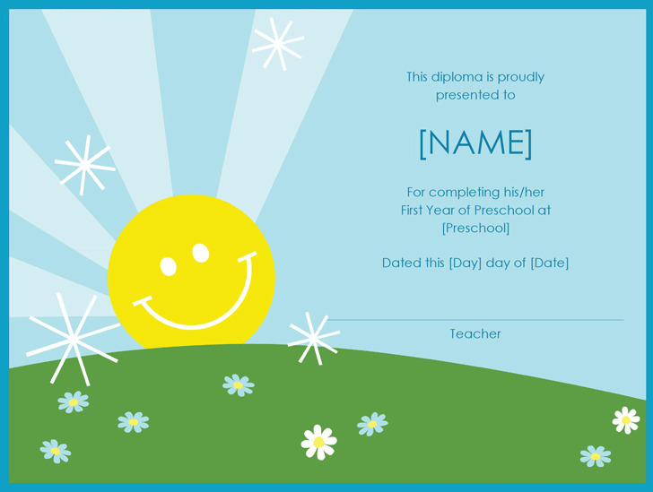 Preschool Diploma Certificate (Sunshine Design)