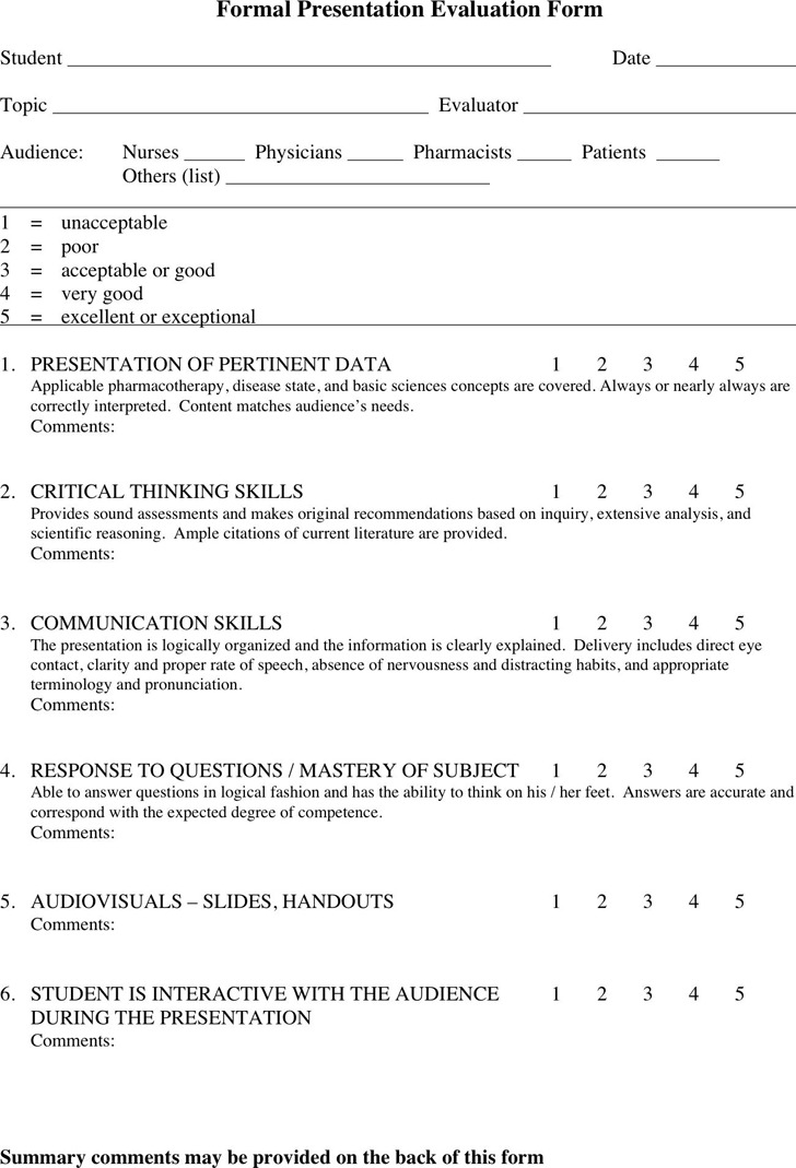 Presentation Evaluation Form  Download Free  Premium Templates