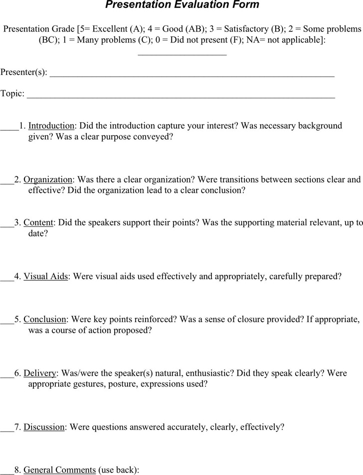 Speaker Evaluation Form