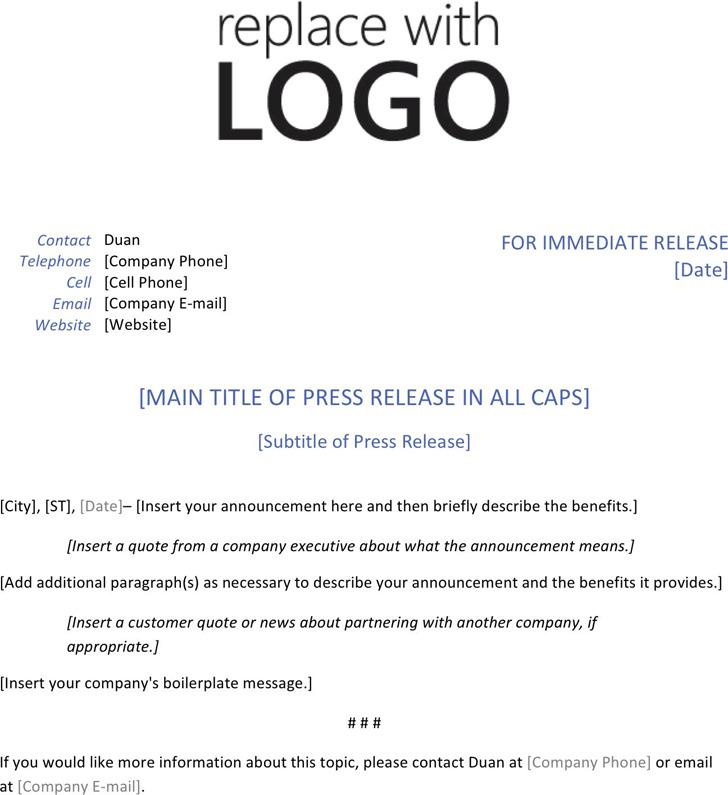 Press Release Template 1