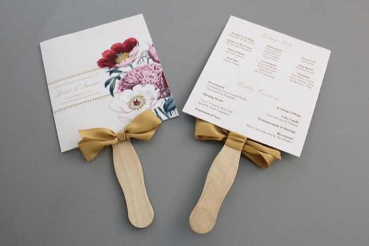 Pretty Blooms Wedding Program Paddle Fan from Sweet Violet Bride