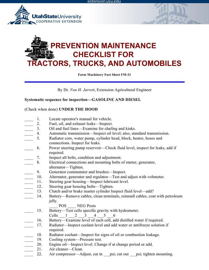Preventive Maintenance Schedule for Trucks PDF Format Download