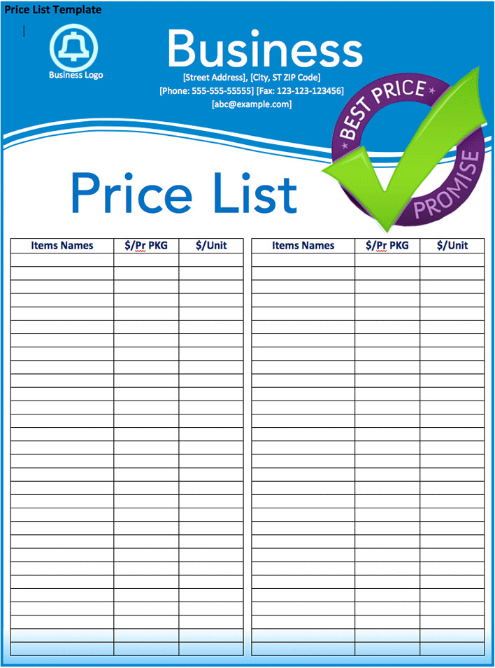Price List Template Twoj Doktor