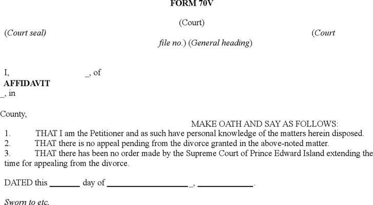Prince Edward Island Affidavit Form