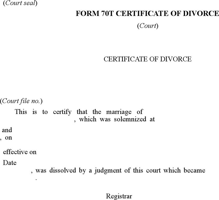 Prince Edward Island Certificate of Divorce Form