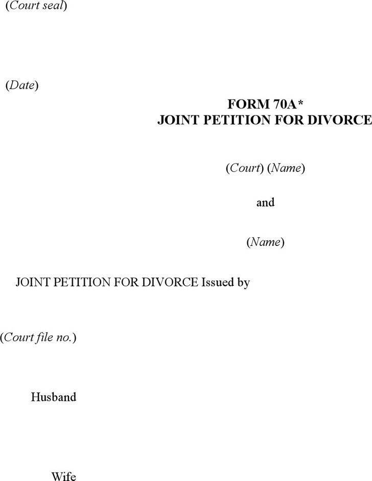 Prince Edward Island Joint Petition for Divorce Form