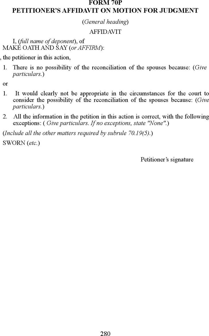 Prince Edward Island Petitioner's Affidavit on Motion for Judgment Form