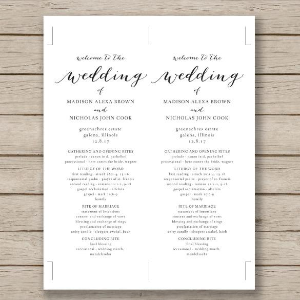 Print Ready Wedding Program Template Download