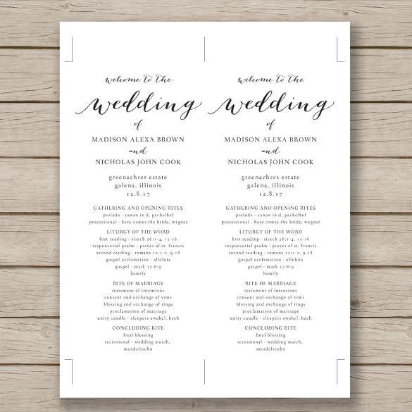 Print Ready Wedding Program Template Download