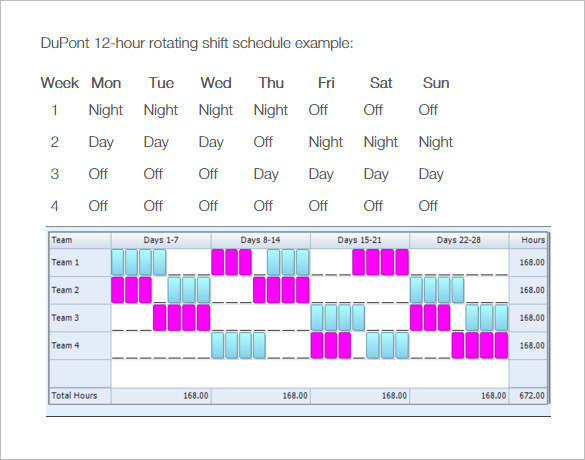 Rotating/Rotation Shift Schedule Template | Download Free