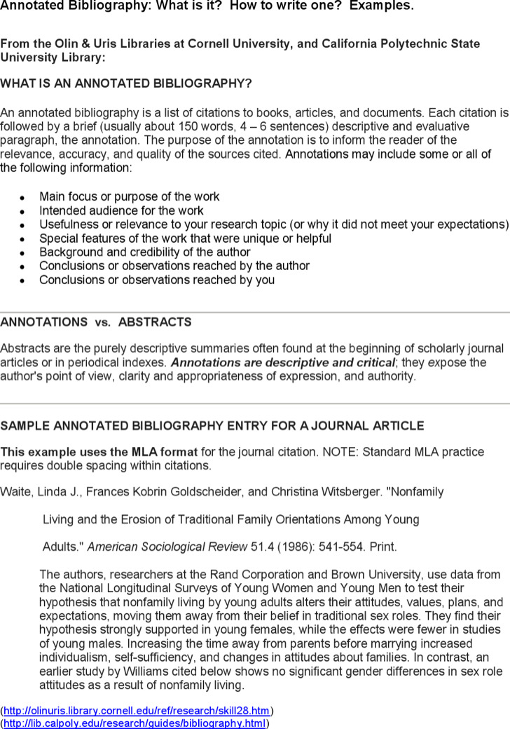 Printable Annotated Bibliography Template For Journal Article